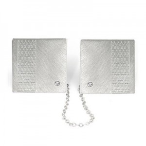 Jewish Wedding Gifts Sterling Silver 925 Tallit (Talit) Holder Star Of David  +  Diamond In Each Side