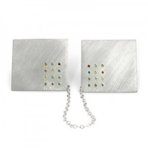 Jewish Wedding Gifts Sterling Silver 925 Tallit (Talit) Holder Hoshen Stones + 24 Diamonds