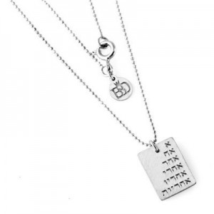 Sterling Silver 925 Pendant A Ach Acher + Diamond + Necklace