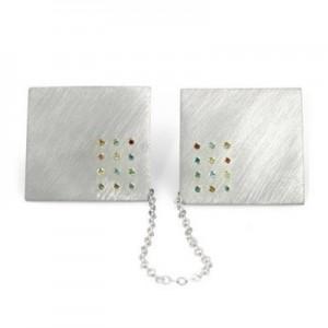 Sterling Silver 925 Tallit (Talit) Holder Hoshen Stones + 24 Diamonds