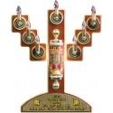 Menorah With Commemoration Plaque + Illuminated Shiviti