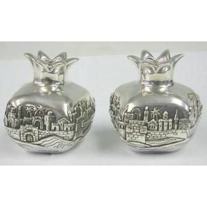 Sterling Silver Big Pomegranate Jerusalem Candlesticks