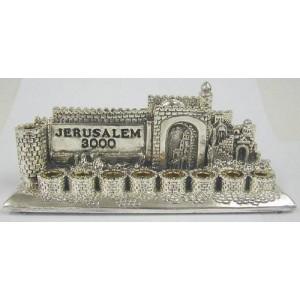 Sterling Silver Menorah Parcel Gilt Jerusalem 3000 Hanukkah Lamp