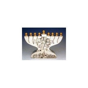 Sterling Silver Menorah Jerusalem Hanukkah lamp Menorah