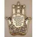 Sterling Silver Jerusalem Blessing + Hamsah 5.9X3.7 in.