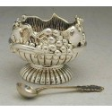 Sterling Silver 2-Handled Honey Dish and Spoon